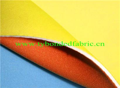 橙色尼龙佳积布贴合米白SBR潜水料复合黄色涤纶佳积布