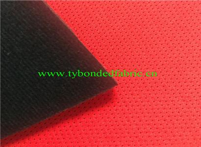 工厂定制摩托车自行车头盔用红色网布贴合泡棉复合黑色绒布